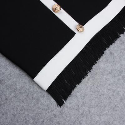 White-Stripe-Short-Sleeve-Black-Bandage-Dress-K956-8