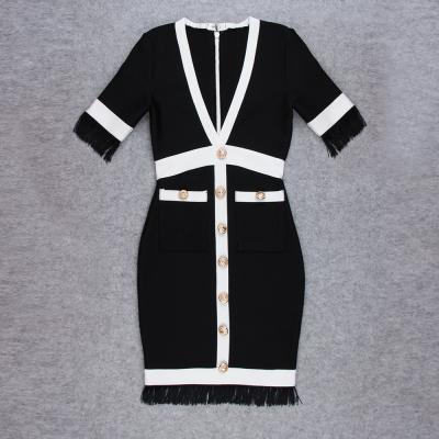 White-Stripe-Short-Sleeve-Black-Bandage-Dress-K956-21_副本55