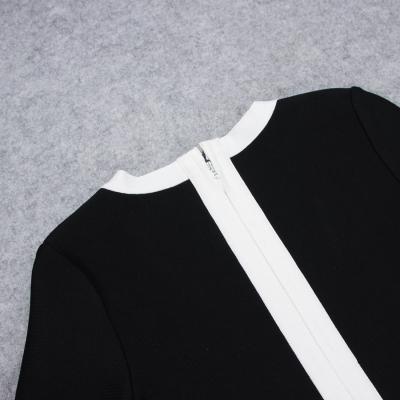 White-Stripe-Short-Sleeve-Black-Bandage-Dress-K956-4
