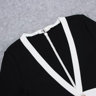 White-Stripe-Short-Sleeve-Black-Bandage-Dress-K956-3