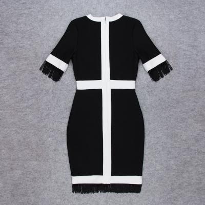 White-Stripe-Short-Sleeve-Black-Bandage-Dress-K956-1_副本55
