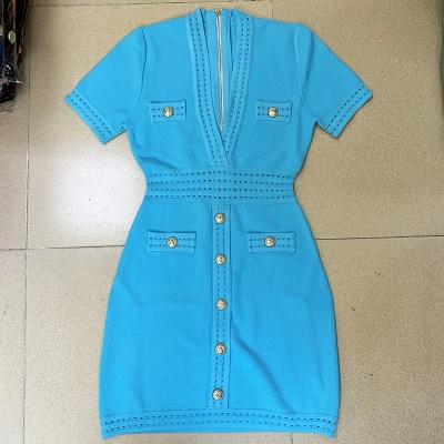 Deep-V-Knit-Dress-K1027-1