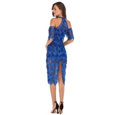 Mesh Sequin Off The Shoulder Dress K239 (2)