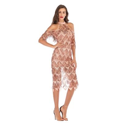 Mesh Sequin Off The Shoulder Dress K239 (8)