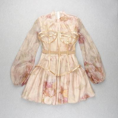 Long-Sleeve-Printed-Dress-﹠Gauze-Waist-Sealing-Set-K1052-1