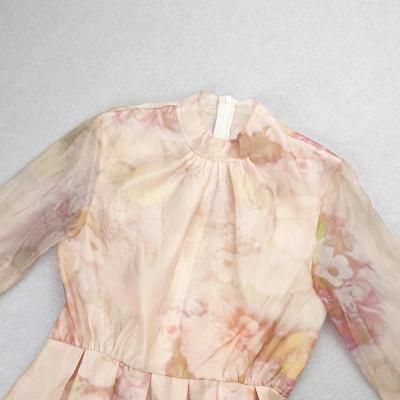 Long-Sleeve-Printed-Dress-﹠Gauze-Waist-Sealing-Set-K1052-2