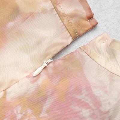 Long-Sleeve-Printed-Dress-﹠Gauze-Waist-Sealing-Set-K1052-4