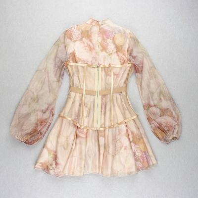 Long-Sleeve-Printed-Dress-﹠Gauze-Waist-Sealing-Set-K1052-5