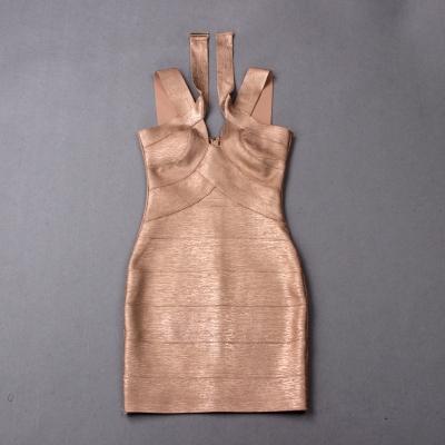 Hollow-Out-Halter-Metallic-Bandage-Dress-K1071-8