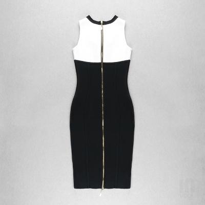 White-And-Black-Sleeveless-Bandage-Dress-K1102-10