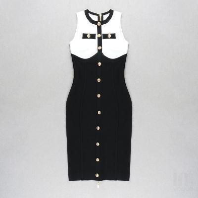 White-And-Black-Sleeveless-Bandage-Dress-K1102-11