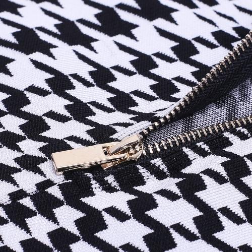 Black White Figure Mesh Hollow Bandage  Dress K166 (3)