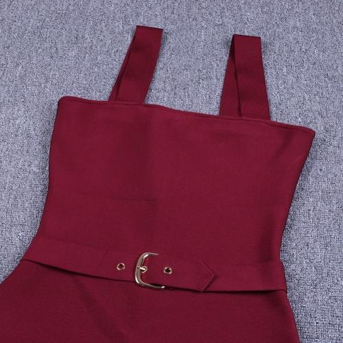 Wine Red Strap Girdling Bandage Dress K215(5)