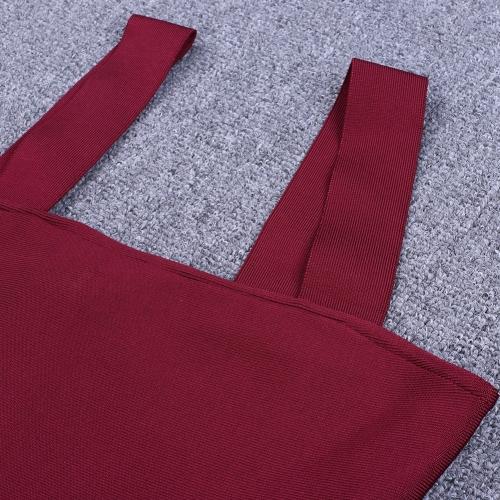 Wine Red Strap Girdling Bandage Dress K215(7)