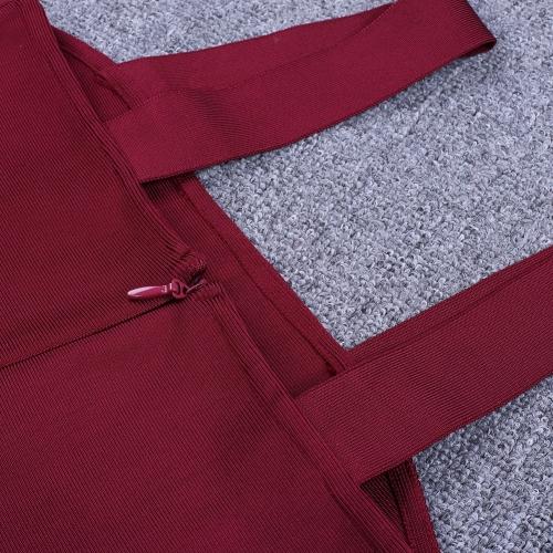 Wine Red Strap Girdling Bandage Dress K215(8)