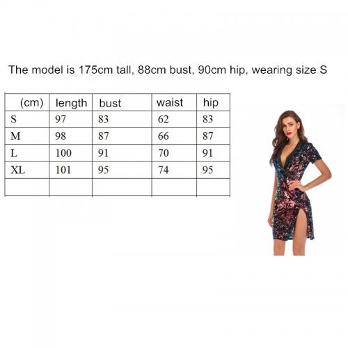 Pleated Neckline  Short Sleeve Spilt Sequin Dress K237 (4)