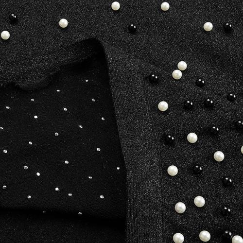 Bright Silk Bandage Pearl Studded Dress K250 (14)
