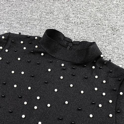 Bright Silk Bandage Pearl Studded Dress K250 (16)