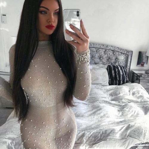 Bright Silk Bandage Pearl Studded Dress K250 (20)