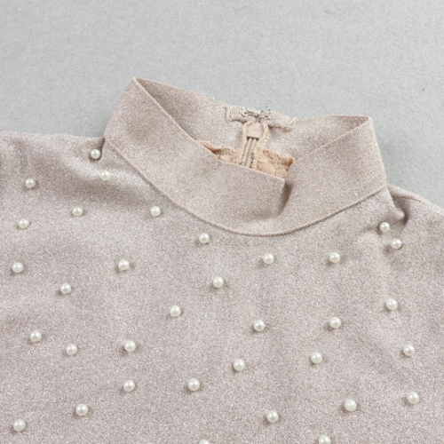 Bright Silk Bandage Pearl Studded Dress K250 (24)
