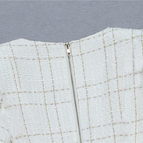 White Fringed Dress with Gold Check Blazer Dress K279 (27)