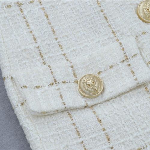 White Fringed Dress with Gold Check Blazer Dress K279 (28)