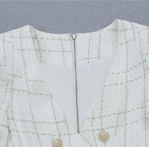 White Fringed Dress with Gold Check Blazer Dress K279 (32)