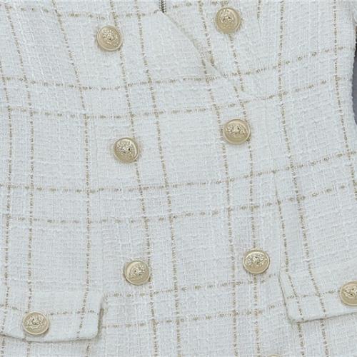White Fringed Dress with Gold Check Blazer Dress K279 (33)