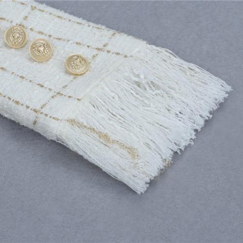 White Fringed Dress with Gold Check Blazer Dress K279 (34)