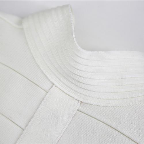 WHITE CUT OUT LONG SLEEVE BANDAGE DRESS K286 (10)