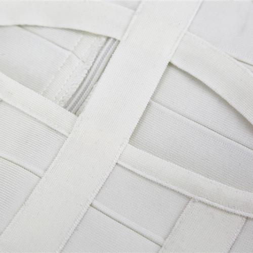WHITE CUT OUT LONG SLEEVE BANDAGE DRESS K286 (3)