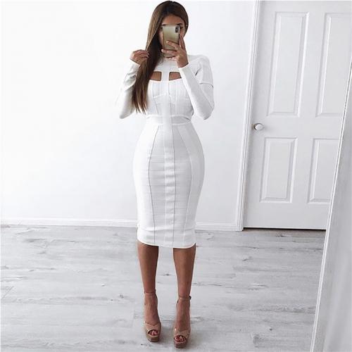WHITE CUT OUT LONG SLEEVE BANDAGE DRESS K286 (4)