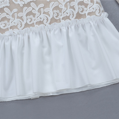 WHILE FLOWER LACE FLOUNCING BODYCON DRESS K290  (29)