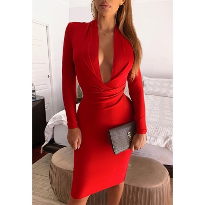 Deep-V-Long-Sleeve-Bandage-Dress-K319-7