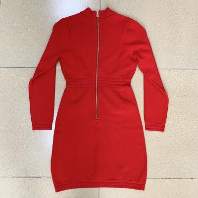 Deep-V-Long-Sleeve-Bandage-Dress-K864-2