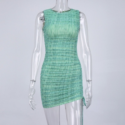 Green-Mesh-Ruched-Bodycon-Dress-OS00332