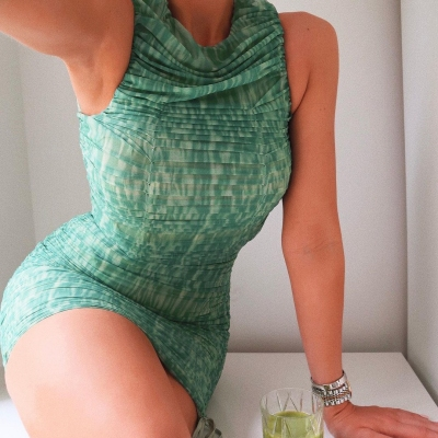 Green-Mesh-Ruched-Bodycon-Dress-OS00343