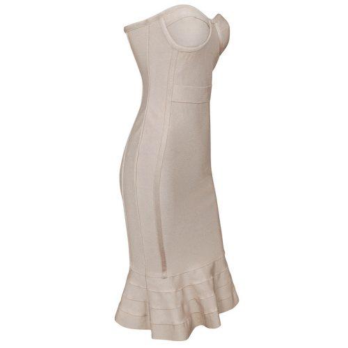 Knee Length Beige Strapless Mermaid Bandage Dress With Line KH1151 10