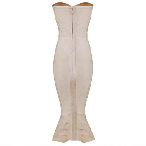 Knee Length Beige Strapless Mermaid Bandage Dress With Line KH1151 4