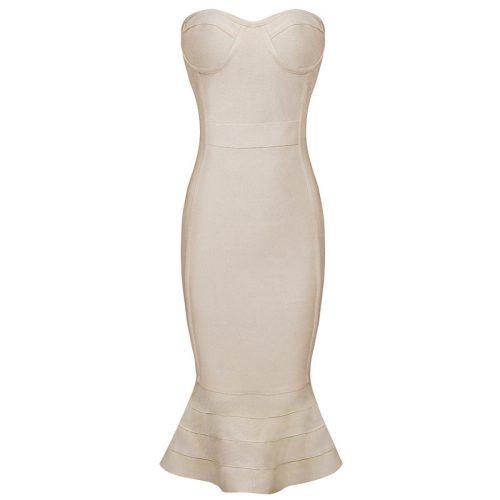 Knee Length Beige Strapless Mermaid Bandage Dress With Line KH1151 9