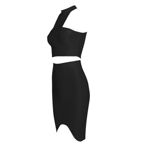 Halter Neck Sleeveless Red 2 Pieces Bandage Dress KH1571 17