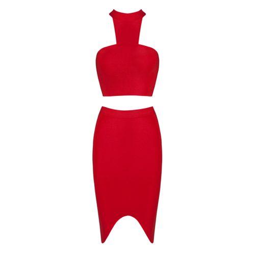 Halter Neck Sleeveless Red 2 Pieces Bandage Dress KH1571 6