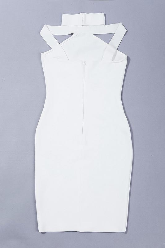 2016 New Sexy Off The Shoulder Halter Bandage Dress White KL1019 (8)