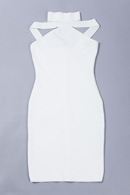 2016 New Sexy Off The Shoulder Halter Bandage Dress White KL1019 (9)