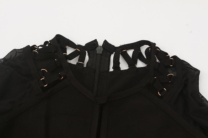 Both Side Cross Strings Lace Up Mesh Long Sleeve Bandage Dress KL1017 (10)