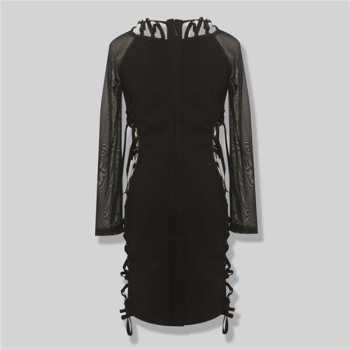 Both Side Cross Strings Lace Up Mesh Long Sleeve Bandage Dress KL1017 11