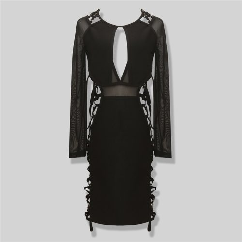 Both Side Cross Strings Lace Up Mesh Long Sleeve Bandage Dress KL1017 14