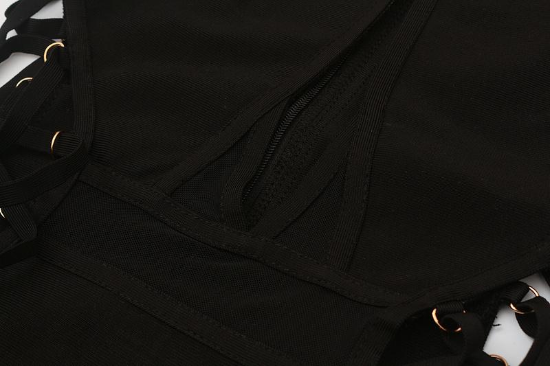 Both Side Cross Strings Lace Up Mesh Long Sleeve Bandage Dress KL1017 (8)