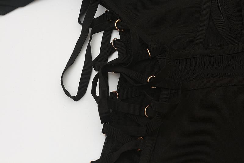 Both Side Cross Strings Lace Up Mesh Long Sleeve Bandage Dress KL1017 (9)