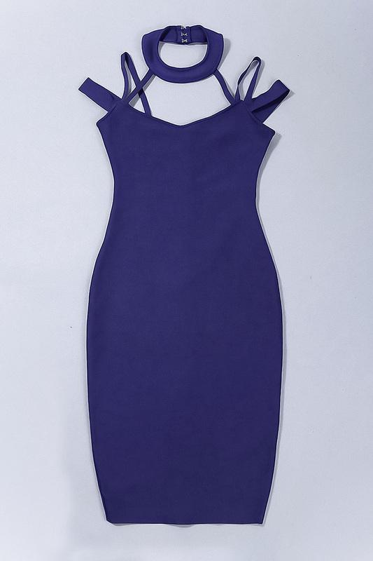 Hollow Out V-Neck Sexy Spaghetti Strap Bandage Dress KL1020 (6)